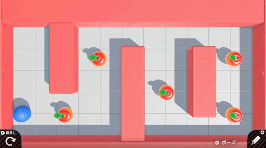 壁とリンゴが増えたゲーム画面