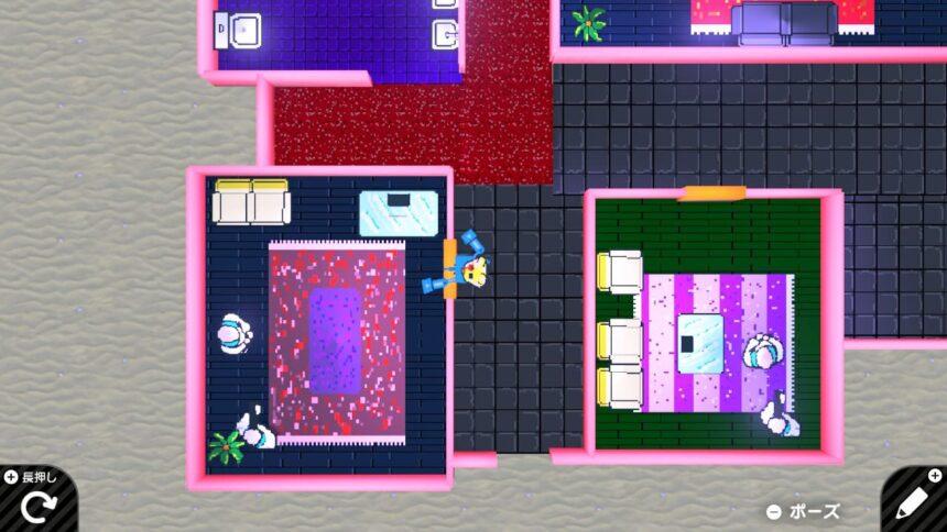 ホットラインマイアミ風ゲームのプレイ画像