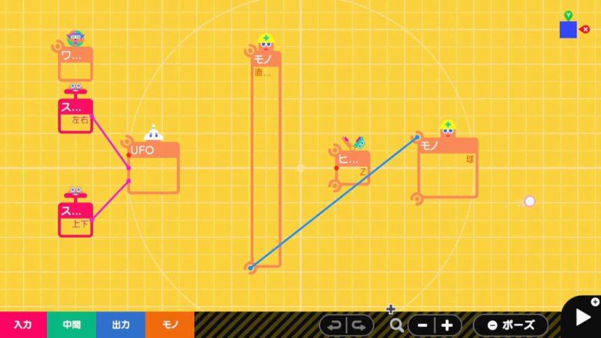 直方体と球のモノがれんけつしているプログラム画面